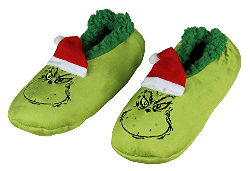 Dr. Seuss The Grinch That Stole Christmas Slippers Santa Grinch Slipper Socks with No-Slip Sole For Women Men (Small)