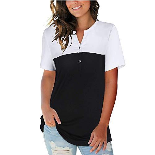 YANFANG Blusa con Botones de Manga Corta con Cuello en V para Mujer,Camisetas Estampadas para Mujer Blusa Túnica Tops Blusas,Camisas Blusas Moda Casual, Negro,XL