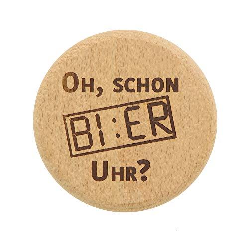 4X HOFMEISTER® Bierglasdeckel mit Spruch Bier Uhr, Abdeckung für Weizengläser