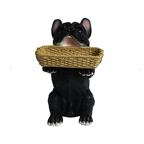 SMALEAVES Home Decor Patio - Cute French Bulldog Statue with Storage Basket - House,Lawn & Garden Indoor Outdoor Décor Garden Sculptures (Black French Bulldog)