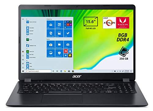 "Acer Aspire 3 A315-42-R4D6 Notebook con Processore AMD Athlon 300U, Ram da 8 GB DDR4, 256GB PCIe NVMe SSD, Display 15,6"" FHD LED LCD, Scheda Grafica AMD Radeon Vega Mobile Gfx, Windows 10 Home, Nero"