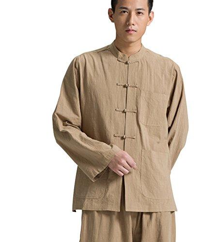 Katuo Camicia tradizionale cinese a maniche lunghe con colletto cachi XXL