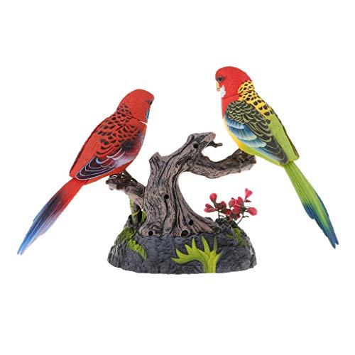 Tubayia - Rilevatore di movimento realistico a forma di pappagallo con portapenne, decorazione da scrivania