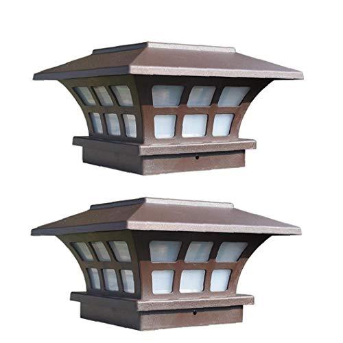 Pilar solar retro de la lámpara de cristal de la linterna impermeable al aire libre Patio del anuncio del bolardo de luz blanca pilar puerta de jardín Patio lámparas de poste 2 piezas de Path