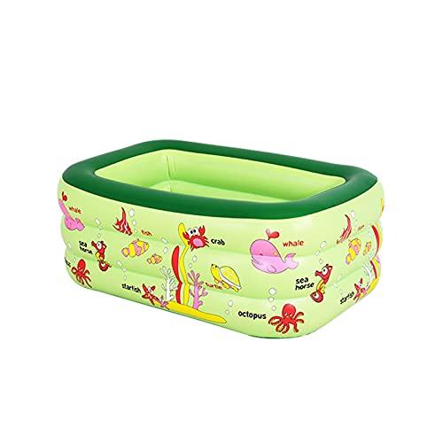 YMJTLTU Piscinas para niños pequeñas de 130 x 85 x 55 cm, inflables rectangulares para niños, piscina, juguetes de baño para bebés, ducha de agua, juguetes de playa (color verde)