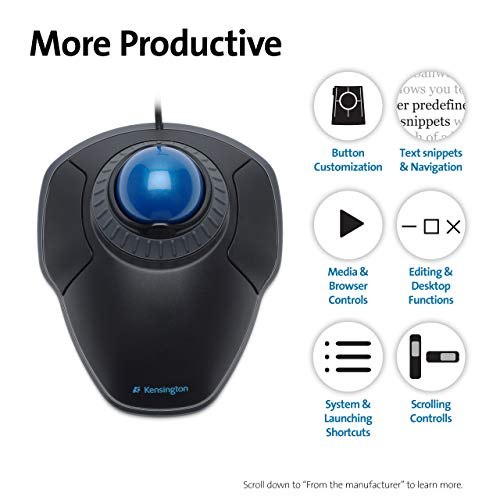 Kensington Orbit Mouse - Wired Ergonomic TrackBall Mouse for PC, Mac and Windows with Scroll Ring, Ambidextrous Design and Optical Tracking - Blue (K72337EU)