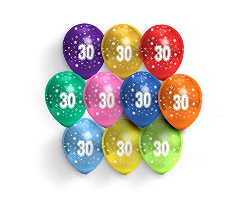 FUNXGO® Party Dekoration Luftballons in kunterbunte - 30cm / 10 Stück - Deko zum 30.Geburtstag Party Happy Birthday Dekoration 30. Jubiläum Perlenhochzeit (Zahl 30)