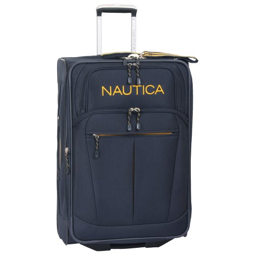 Nautica 24' Expandable Spinner Luggage, Navy/yellow