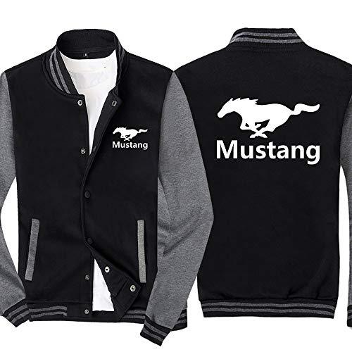 Męska bluza rozpinana w piersi kurtka z klapami zimowa ciepła odzież wierzchnia płaszcze Casual bluza w dużych rozmiarach Mustang strój baseballowy,czarno szary,XXL