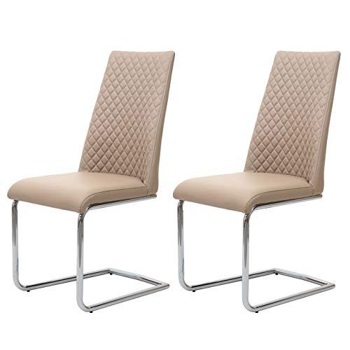 Mendler 2X Esszimmerstuhl HWC-F31, Stuhl Küchenstuhl Freischwinger, Kunstleder ~ Creme