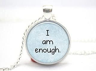 I Am Enough Tile Necklace Inspirational