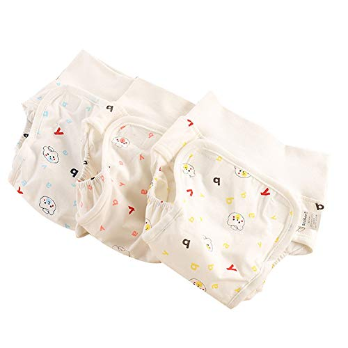 Neugeborene hoch taillierte Lernhose Unterwäsche Baumwolltuchwindel wasserdicht, Baby Höschen Windel ändern, Töpfchen Trainingshose, 3 Packs, 100