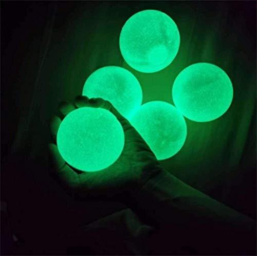 Bolas de Pared pegajosas, 5 PCS Bolas de Alivio de estrés Luminoso Bolas Brillantes Bolas de descompresión para TDAH OCD Ansiedad Niños Adultos, 4,5 cm