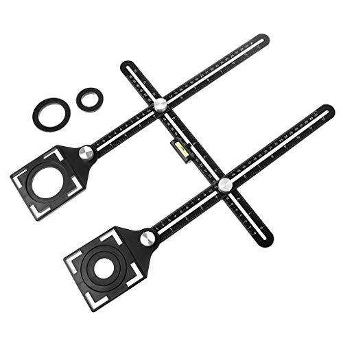 Lamdoo Aleación de Aluminio Multi ángulo de medición Seis Veces la Regla Posicionador de posición Universal Trepanación Lineation Tile Glass Punching Tool