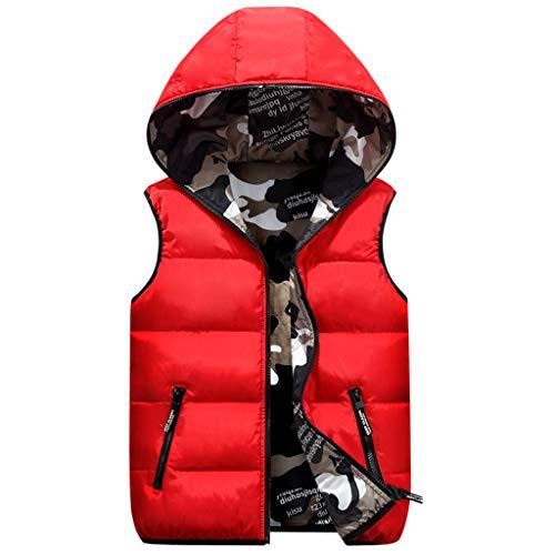 Chaleco de Pluma Sin Mangas Chaqueta con Capucha Niños Niñas Reversible Abrigo de Invierno Camuflaje Trajes Rojo 4-5 Años