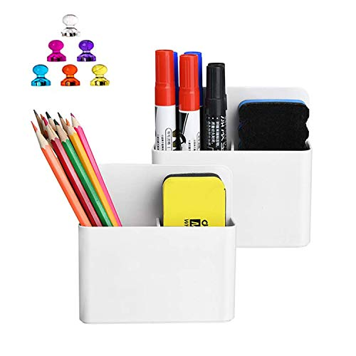 Magnetic Dry Erase Marker Holder, Pen and Eraser Holder for Whiteboard, Magnet Pencil Cup Utility Storage Organizer for Office, Refrigerator, Locker and Metal Cabinets (2 Pack)