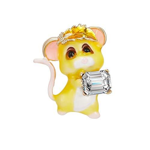 BBLLBrosche Chinesische Maus Jahr Brosche Big Ear Schöne Maus Essen EIS Schwarze Ratte Umarmen Strass Papier Flugzeug Maus Pin Neujahrsgeschenk5