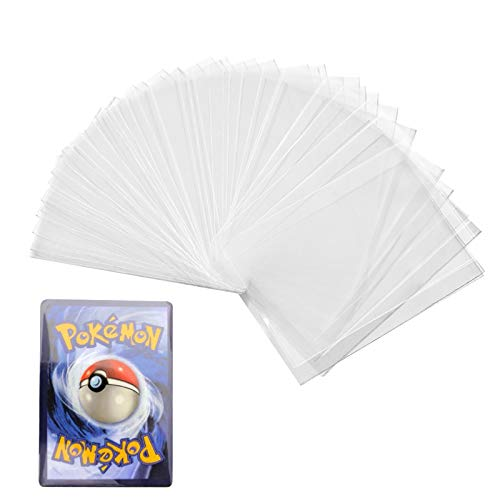 seOSTO 100Pcs Pochette Carte Pokemon, Pochettes Pour Cartes Trading Card Game Collection, Transparente Accessoires Album Classeur Pour Cartes de Poker Tarot Trois Royaumes(Non scellé)