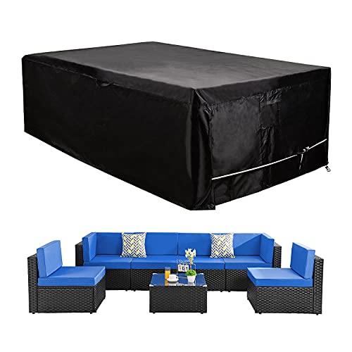 Conjunto de muebles de patio seccional cubre grande impermeable al aire libre muebles conjunto cubre sofá conjunto cubiertas impermeable resistente 126 pulgadas