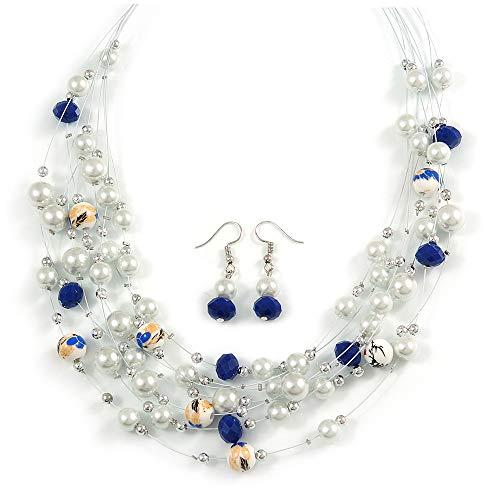 Avalaya - Set di collana e orecchini pendenti con perline multifilo e perline (bianco, blu), lunghezza 50 cm, lunghezza 4 cm