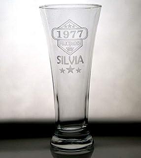 AMAVEL Para Amantes de la Cerveza Personalizada Vaso de Cristal con Grabado Regalos Originales de Capacidad: 0,4 l Copa de Cerveza para el 18 Cumplea/ños Cervezas Tipo Pilsen Copa Tulipa