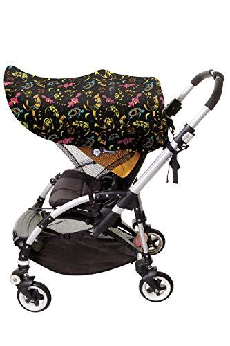 Dreambaby F283 Extenda-Shade® Kinderwagen Sonnenschutz Sonnenverdeck Sonnendach universal EXTRAGROSS mit Seitenschutz (Tiermotive), schwarz
