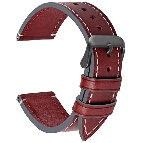 Fullmosa 6 Colori per Cinturino Orologio, Pelle Cinturino SmartWatch Braccialetto Cinturini di Ricambio Band Orologio da Polso Cinturino Sostituzione 24mm, Roso Scuro + Fibbia Grigia fumé