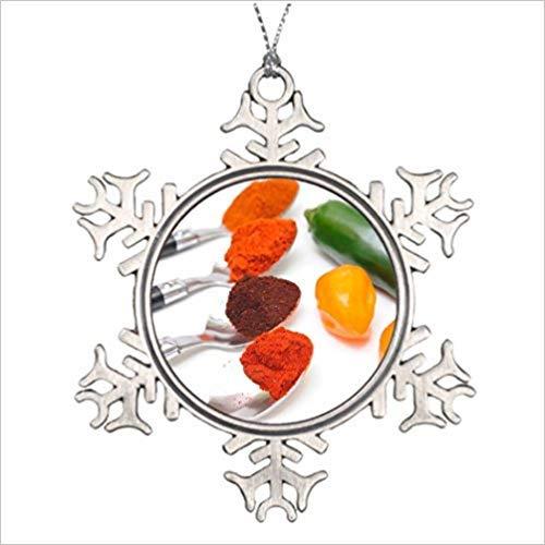 Cukudy Kerstbomen Versierde Chili Poeder fotolijst Sneeuwvlok Ornament Spice