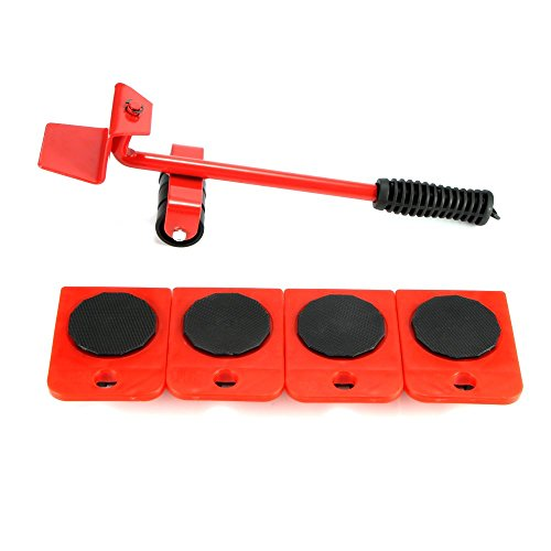 Houkiper Heavy Duty Furniture Mover Set, 5 piezas Kit de toboganes para muebles Labor-Saving Furniture Trolley Lifter Mover Furniture Roller Move Tools (Red)