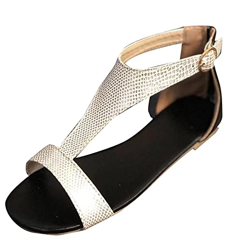 Open Toe Black Sandals Flat Lightweight Soft Sole Comfor t Beach Simple Beautiful Breathable Summer Black Platform Sandals Fire and Safety Shoes(Silver 6.5)