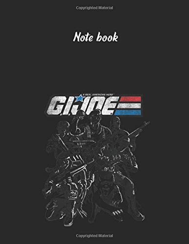 Notebook: Gi Joe Classic Logo With Wolf Pose Large Size 8.5in x 11in x 109 pages Lined Pages Notebook White Paper Blank Journal with Black Cover for Kids or Men and Women Wolf