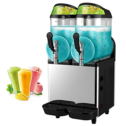 ZLH Máquina Comercial De Slusshie 12L X 2 Doble Tanque Congelado Máquina Congelada, 220V 700W Margarita Slush Maker para Supermercados Restaurantes Bar