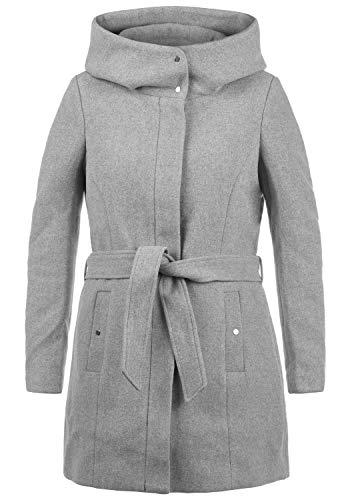 VERO MODA Wollni Damen Winter Jacke Wollmantel Winterjacke Mantel mit Kapuze und Gürtel, Größe:L, Farbe:Light Grey Melange