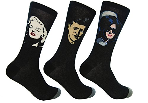 Culture Sock Damen JFK, Marilyn Monroe, Jackie O Socks (3 einzelne unentsprechende Socken!) - Schwarz - Einheitsgröße