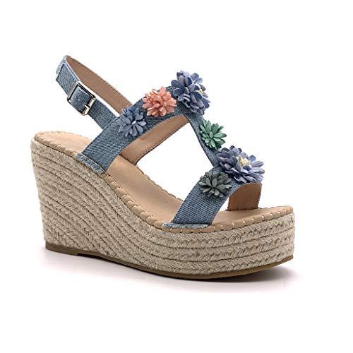 Angkorly - Chaussure Mode Sandale Espadrille Romantique Vintage/rétro Plateforme Femme Fleurs avec de la Paille Talon compensé Plateforme 11 CM - Bleu - MK575 T 36