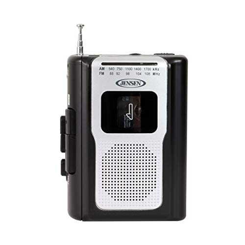 Jensen Retro Portable AM/FM Radio Personal Cassette Player Compact Lightweight Design Stereo AM/FM Radio Cassette Player/Recorder & Built in Speaker (Black)