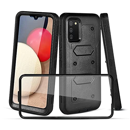 CaseTank Compatible with Samsung Galaxy A02S Case,Galaxy A02S Case W [Built-in Screen Protector] Heavy Duty Shockproof Full-Body Protective Armor Cover Case for Samsung A02S,Black