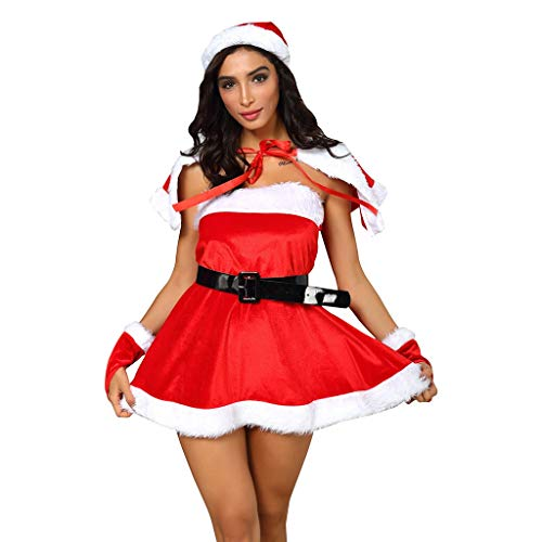 BIKETAFUWY 5Pcs Womens Weihnachtsmann Kostüm Weihnachtskostüm Cosplay Xmas Outfit Abendkleid-Satz Kleid mit Kapuze und Gürte Handschuhe Rot Set Damen Outfit