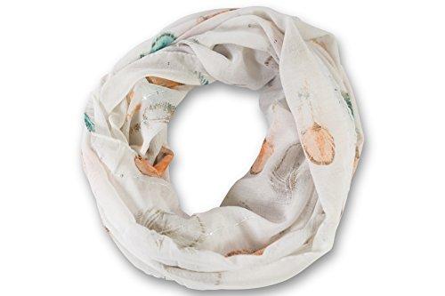 fashionchimp ® Loop Schlauchschal für Damen mit Feder-Pailletten-Print, Sommer-Loop (Weiß-Bunt)