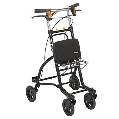 DX Gxy Old Man Shopping Cart Trolley de Carrito de Compras Walker Bicicleta de vejez Plegable Ligera Puede soportar 100 kg (Color: Negro, Tamaño: 51.5 * 55.5 * 81.5)