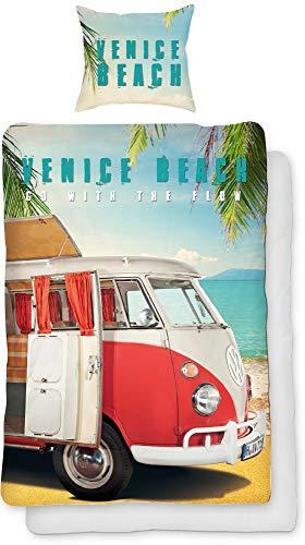 Volkswagen Bulli Venice Beach - Juego de cama (135 x 200 cm + 80 x 80 cm, 100% algodón, renforcé linón, furgoneta retro, California, funda nórdica reversible con cremallera)