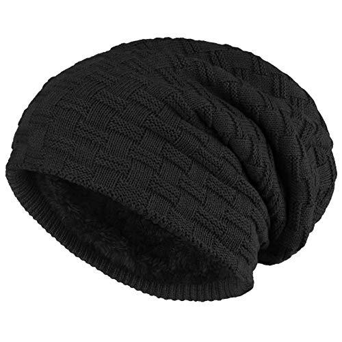 ALPIDEX Slouch Beanie Warme Wintermütze Strick Mütze Weiches Fleecefutter Damen Herren Winer Beanie, Farbe:Black