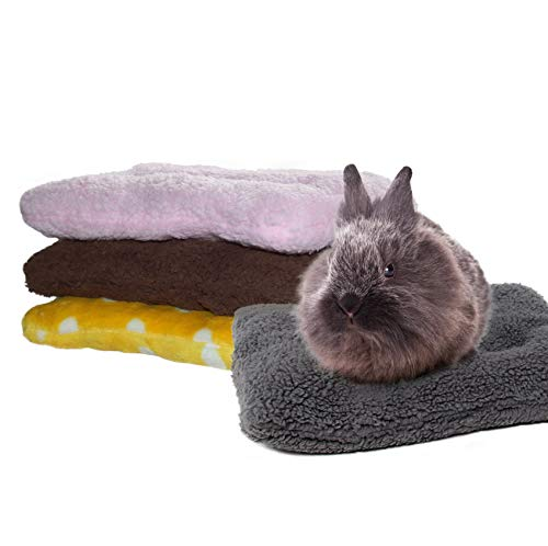RYPET Guinea Pig Bed - Square Plush Warm Sleep Mat Pad for Squirrel Hedgehog Rabbit Chinchilla and Other Small Animals, Random Color