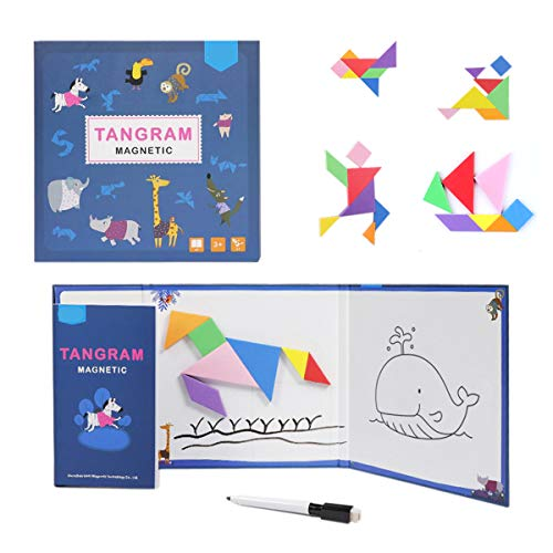 YHZAN Magnetic Pattern Block Travel Tangram Puzzle White Board for Drawing STEM Games Jigsaw Brain Teasers Toy for Kids to Adults (Standard)