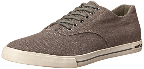 SeaVees Men's 08/63 Hermosa Plimsoll Core Tennis Shoe,Tin Grey Vintage Wash Linen,10.5 M US