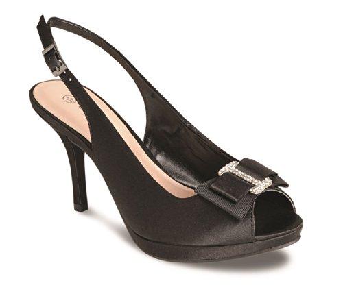 Fantasia Boutique® Donna Peep Toe Diamante Fiocco Accent Cinturino alla Caviglia Donna Tacco Frizione Borsa, Nero