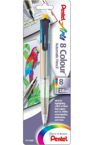 Pentel Arts 8 Colour Automatic Pencil, Assorted Accent Clip Colors, 1 Pack (PH158BP)
