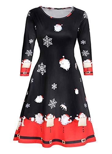 Avacoo Damen Kleider Etuikleid Langarm Elegant Kleid Baumwolle Kleider, Weihnacht Schnee, 40 / L