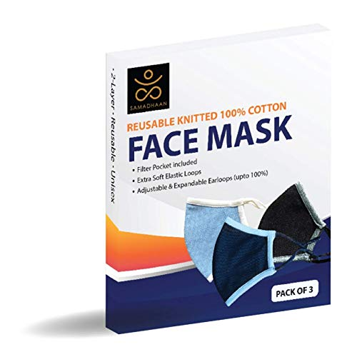 Face Mask - Reusable 100% Cotton 2 Layer Unisex Face Mask - Pack of 3