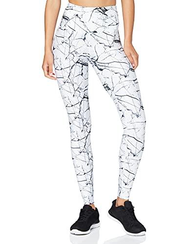 Amazon Brand -AURIQUE Leggings deportivos de talle alto para mujer, Blanco (Marble White Print), 44, Label:XL
